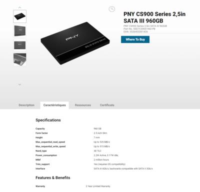 PNY CS900 960 Go TLC QLC