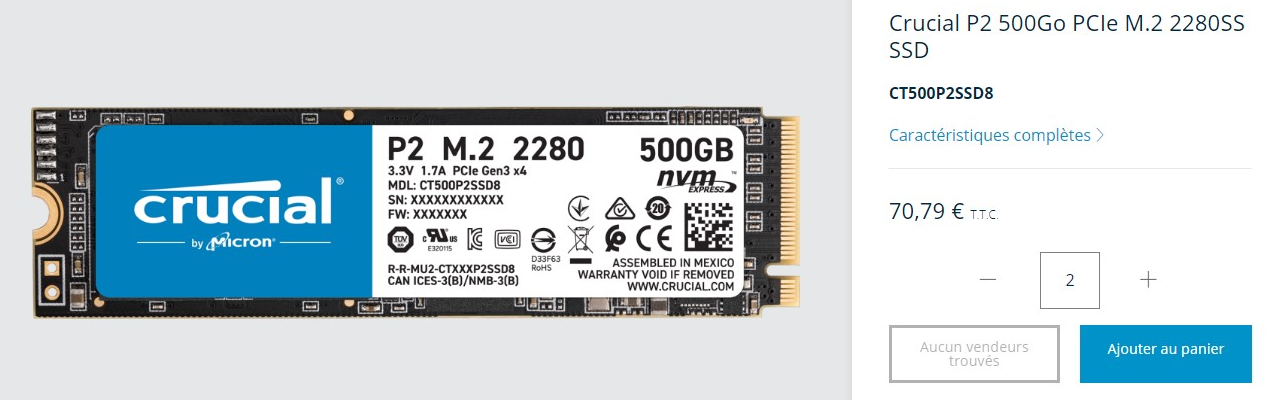 SSD Crucial 500 Go P2