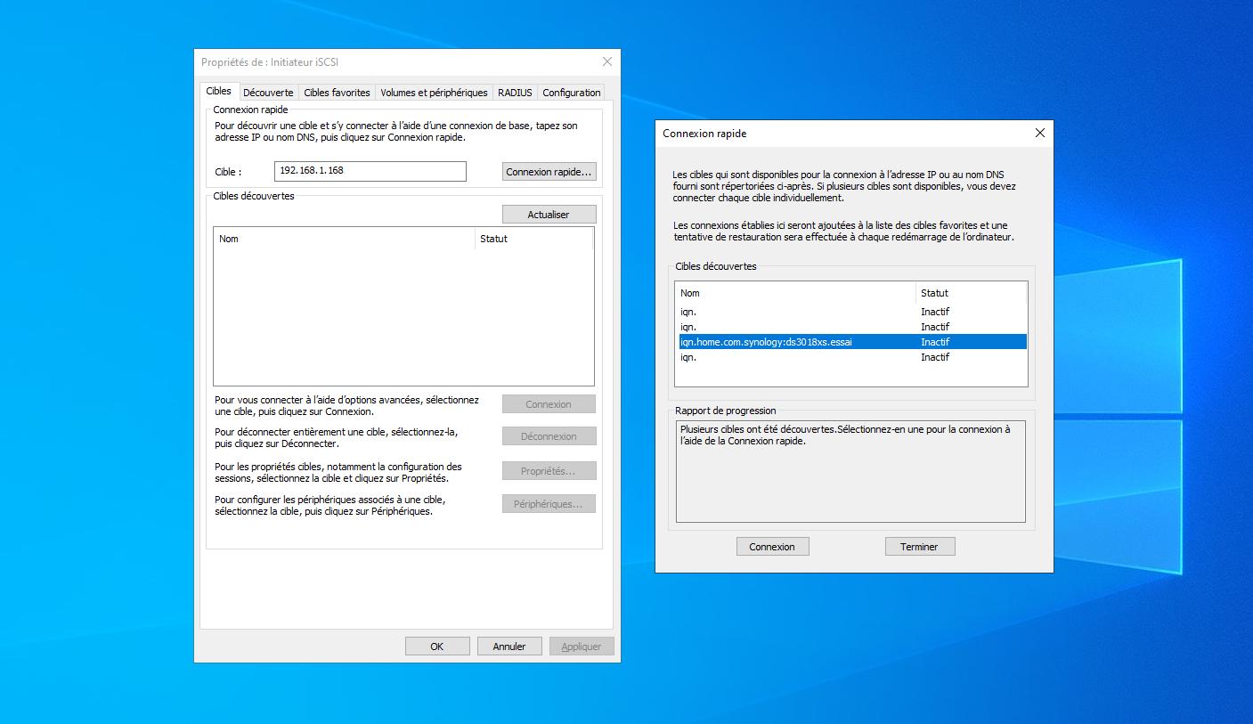 Initiateur iSCSI Windows 10