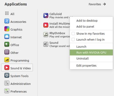 NVIDIA Prime Applet Linux Mint