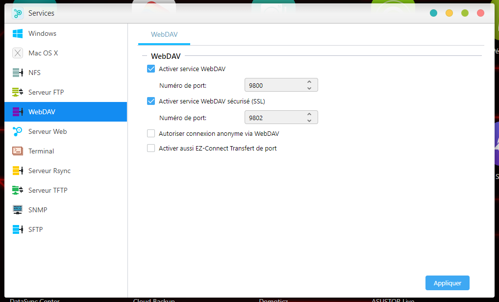 WebDAV Asustor ADM 3.5