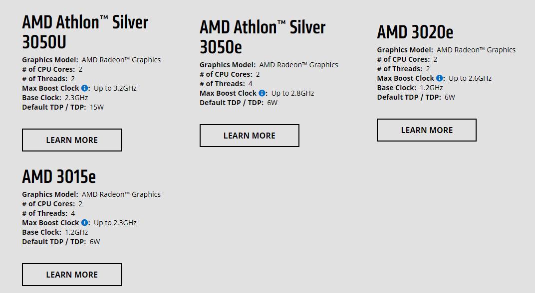 AMD 3015e 3020e 3050e