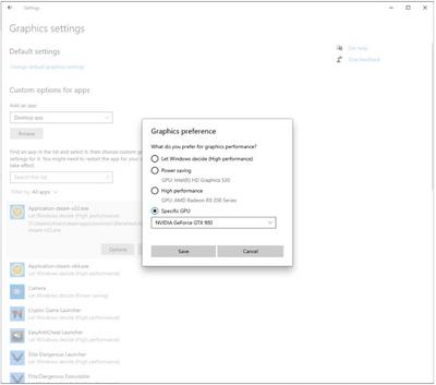 Windows 10 GPU Choix