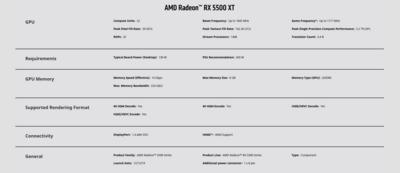 Radeon RX 5500XT Specs