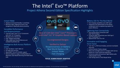 Intel Tiger Lake Gamme Septembre 2020