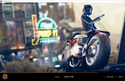 V-Ray Benchmark 5 - Test RTX en cours