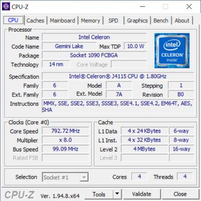 Odroid H2+ CPU-Z