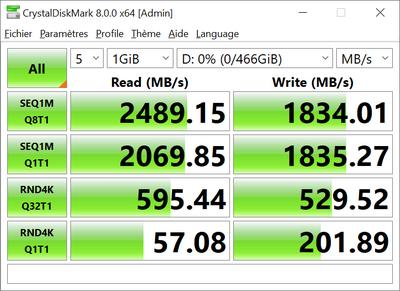 WD Blue SN550 500 Go CrystalDiskMark 8