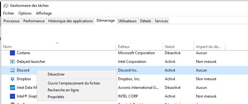 Windows 10 Lancement démarrage