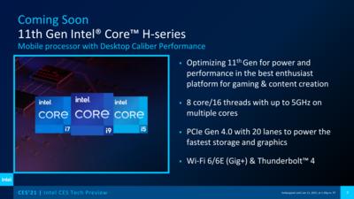 Intel CES 2021 Tiger Lake-H 8C