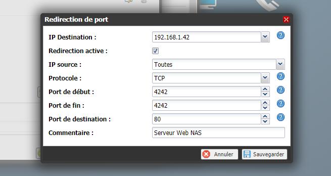 Redirection de port Freebox OS