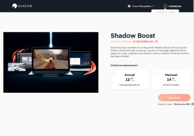 Shadow Boost Disponibilité 2021