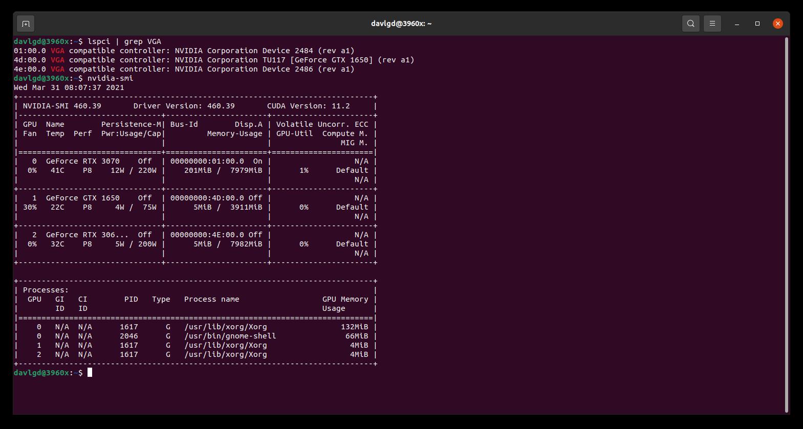 NVIDIA SMI Linux lspci GeForce