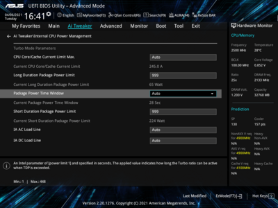 ASUS BIOS UEFI TDP Tau Intel Rocket Lake-S Core i7-11700