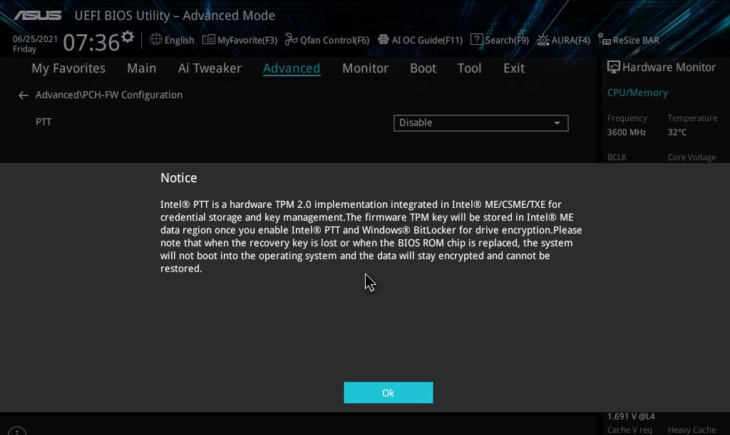 Intel PTT ASUS Z490
