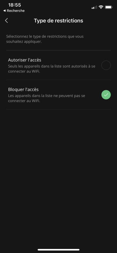 Freebox Connect Restrictions Wi-Fi
