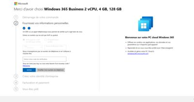 Windows 365 Création de compte