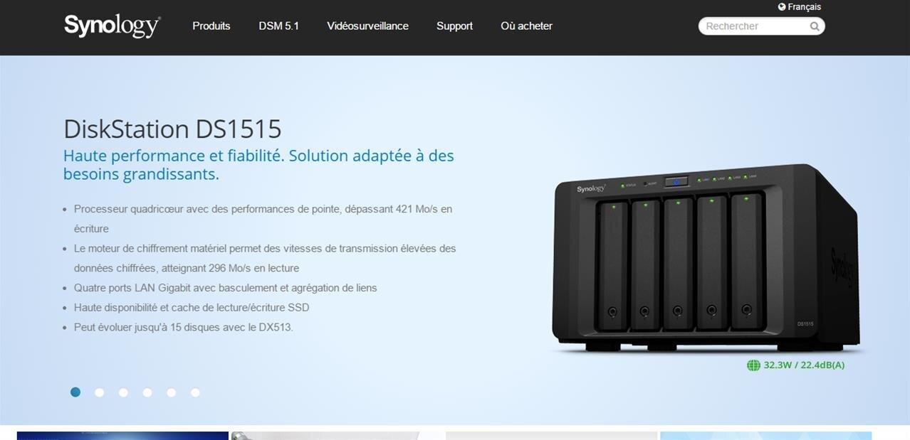 NAS Synology DS1515 : 5 baies, plus de 400 Mo/s, chiffrement et transcodage vidéo pour 642 €