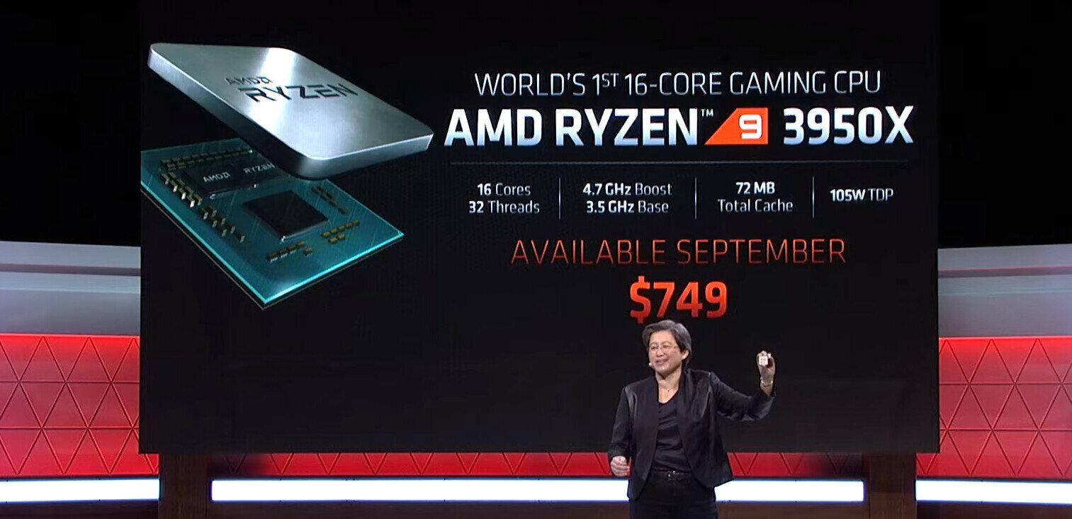 Ryzen 9 3950X à 749 dollars : AMD confirme l'arrivée de son CPU à 16 cœurs en septembre