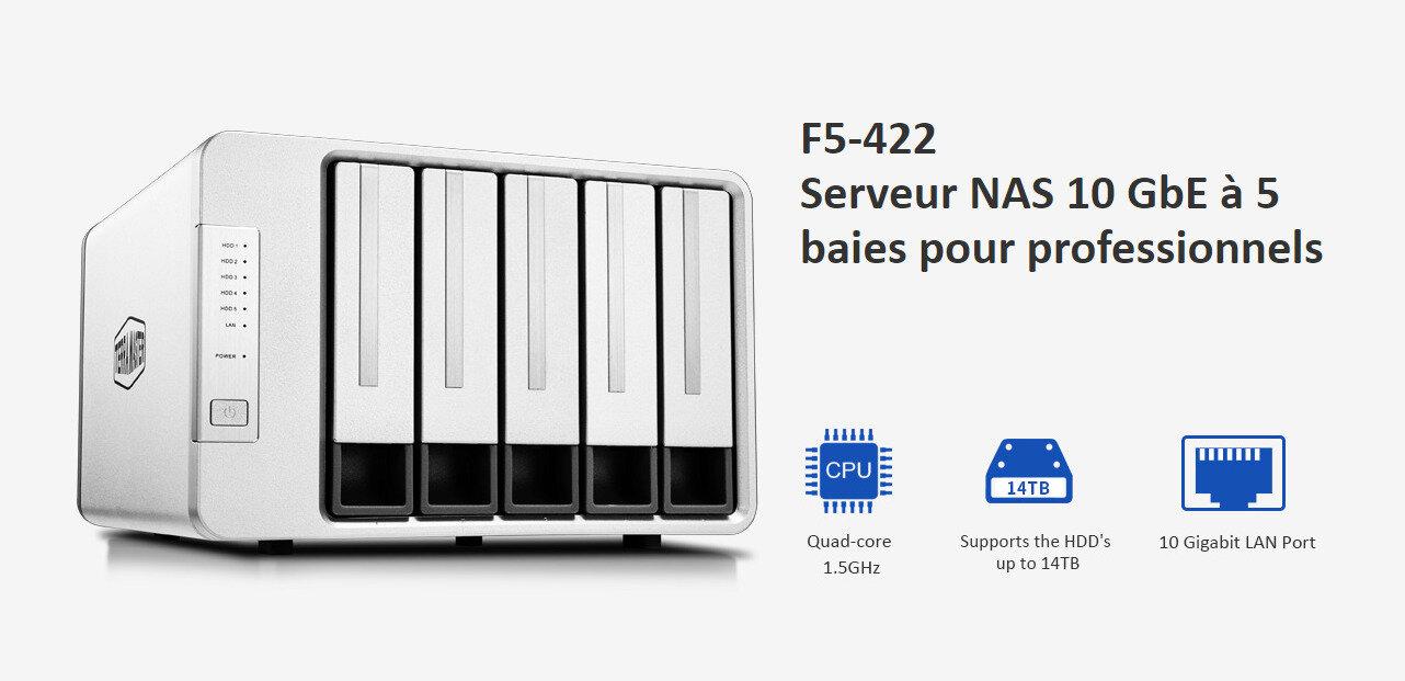 TerraMaster passe aussi au 10 GbE avec son NAS F5-422 (Celeron et 5 baies) à 599,99 euros