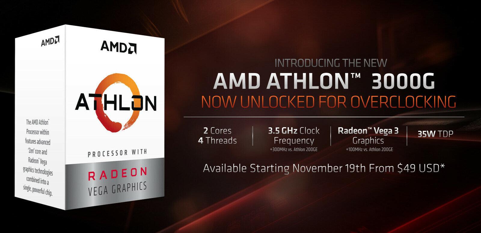 AMD dévoile son Athlon 3000G à 49 dollars, débloqué pour l'overclocking