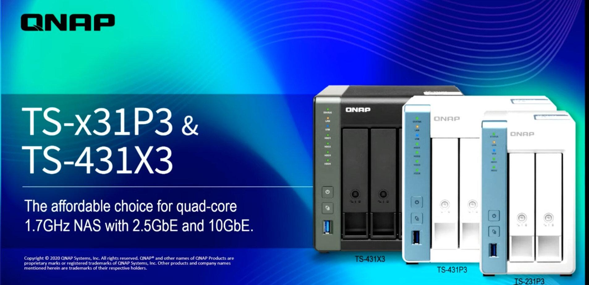 NAS TS-231P3, TS-431P3 et TS-431X3 : QNAP généralise le 2,5 Gb/s sur son milieu de gamme