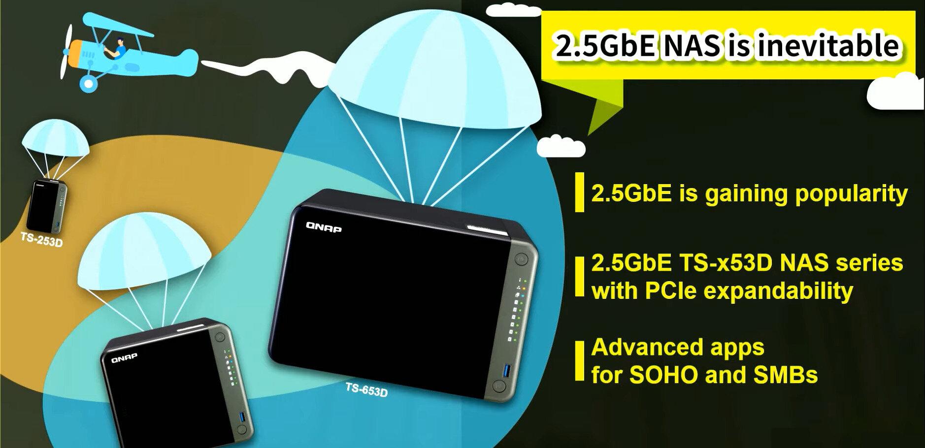 QNAP mise gros sur le 2,5 Gb/s : un switch 5 ports et trois nouveaux NAS (TS-253D, TS-453D, TS-653D)