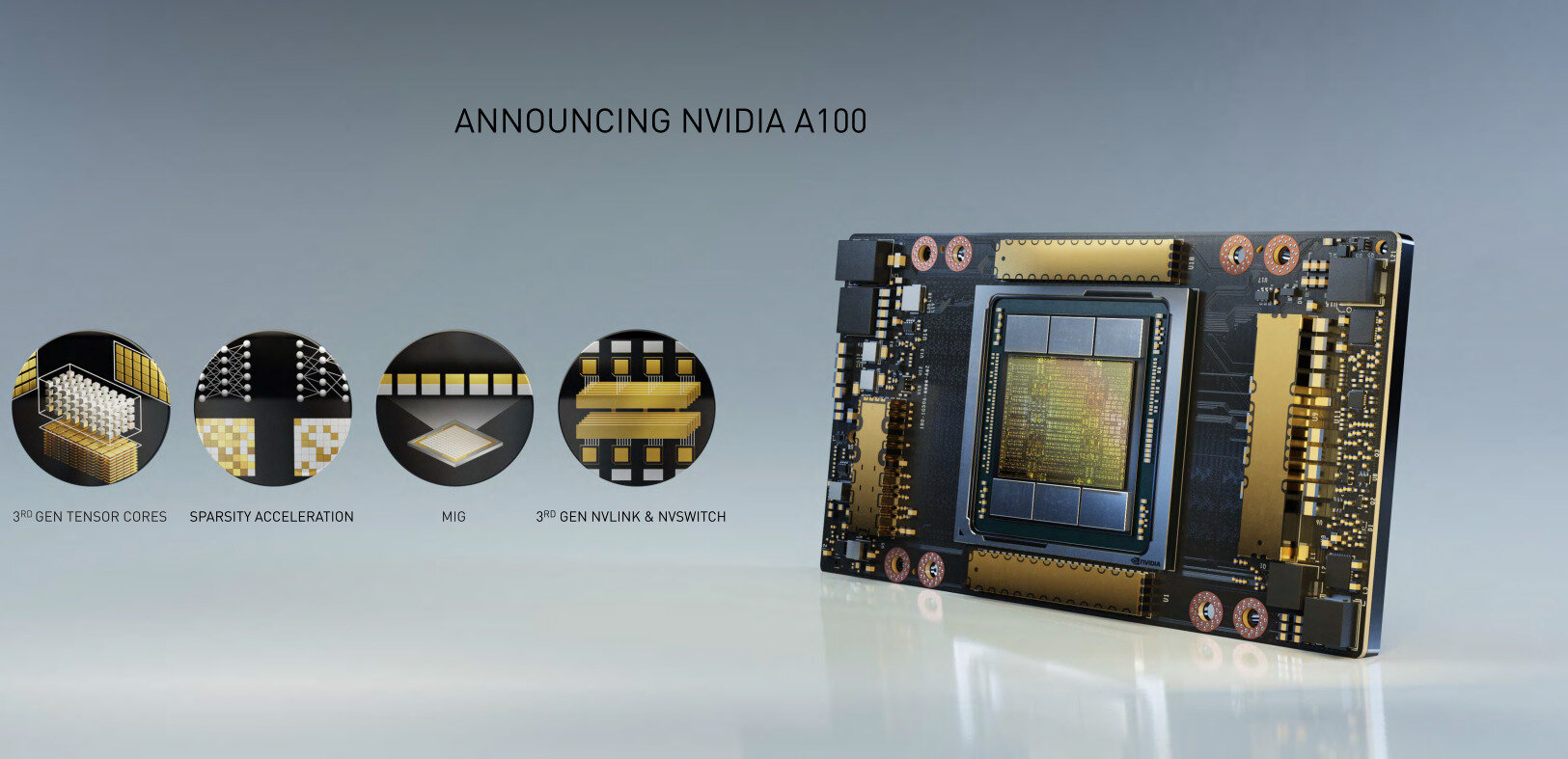 NVIDIA dévoile son monstre A100 (Ampere) avec TF32 : 54 milliards de transistors en 7 nm
