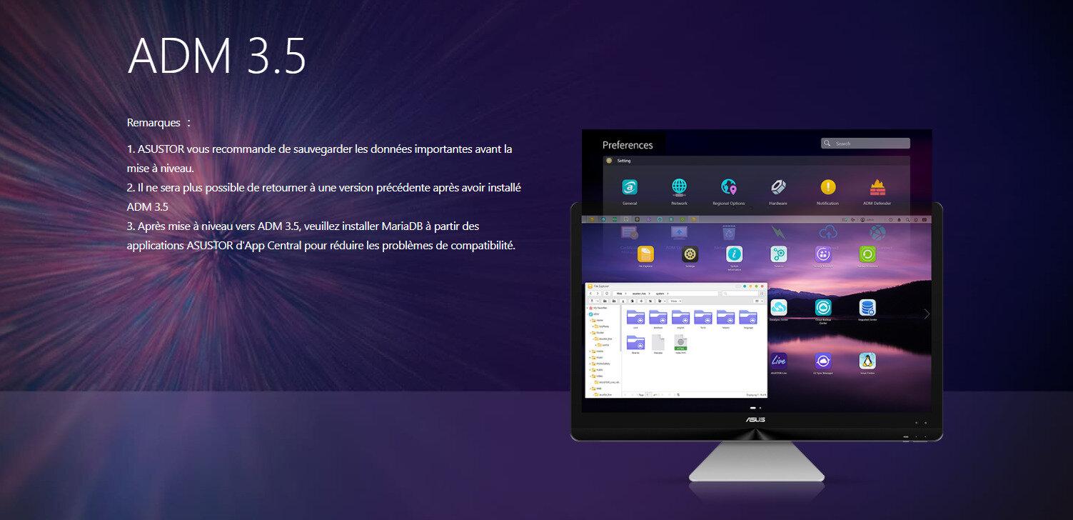 Asustor publie la version 3.5 de son interface ADM, mais l'important est ailleurs