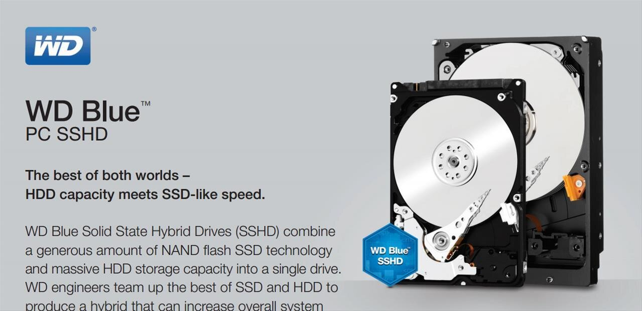 Blue SSHD de Western Digital : des disques durs hybrides avec 8 Go de NAND Flash