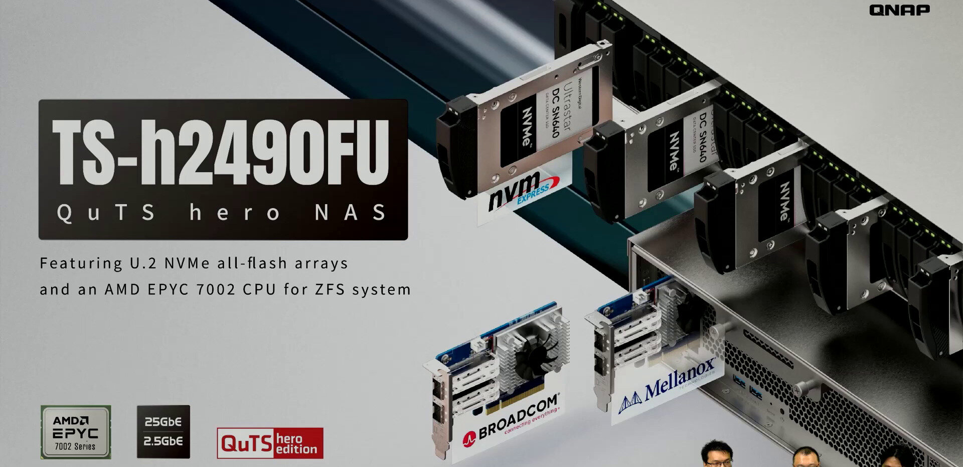 NAS rackables TS-h2490FU : QNAP passe aux AMD EPYC 7002 avec 4x SmartNIC 25 GbE