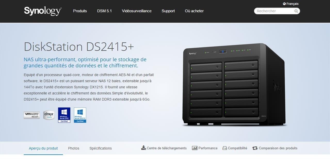 NAS Synology DS2415+ : plus de 450 Mo/s, y compris avec des données chiffrées
