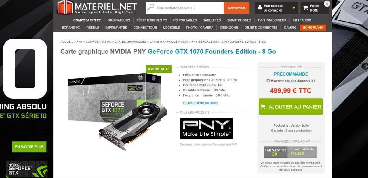 Les GeForce GTX 1070 sont« disponibles », à partir de 499 euros