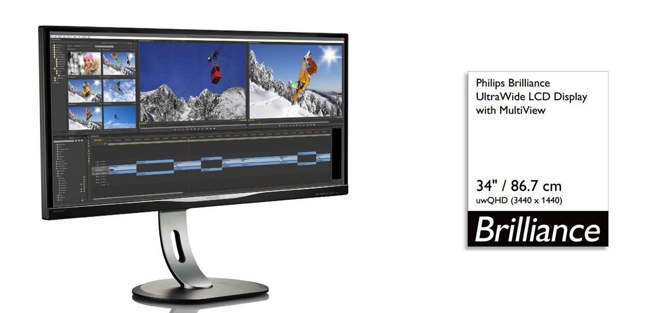 """Philips BDM3470UP : un écran AH-IPS de 34"""" au format 21:9 (3 440 x 1 440 px) à 1 199 €"""